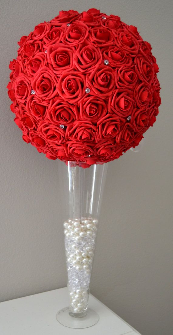 Red flower ball with diamond rhinestone gems wedding