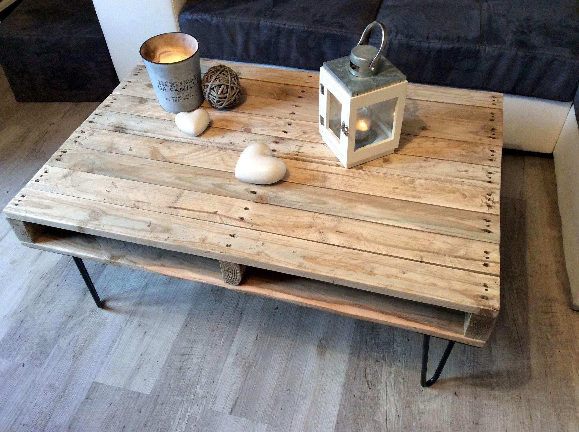 Table Basse En Bois De Palettes Peuplier Massif Pieds En  # Meuble Vintage En Palette