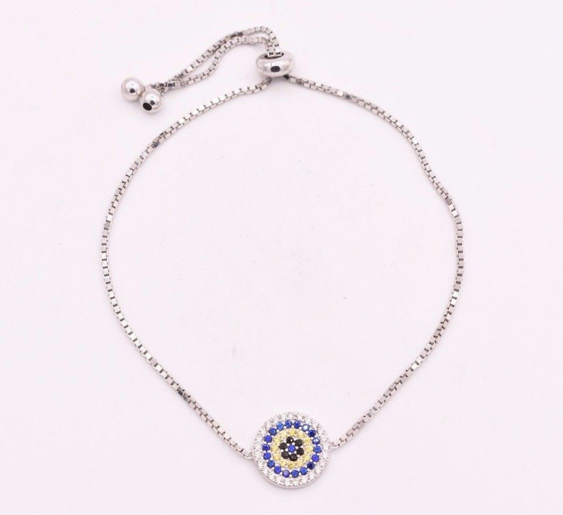 Evil eye cz luck charm box chain adjustable bracelet k white gold