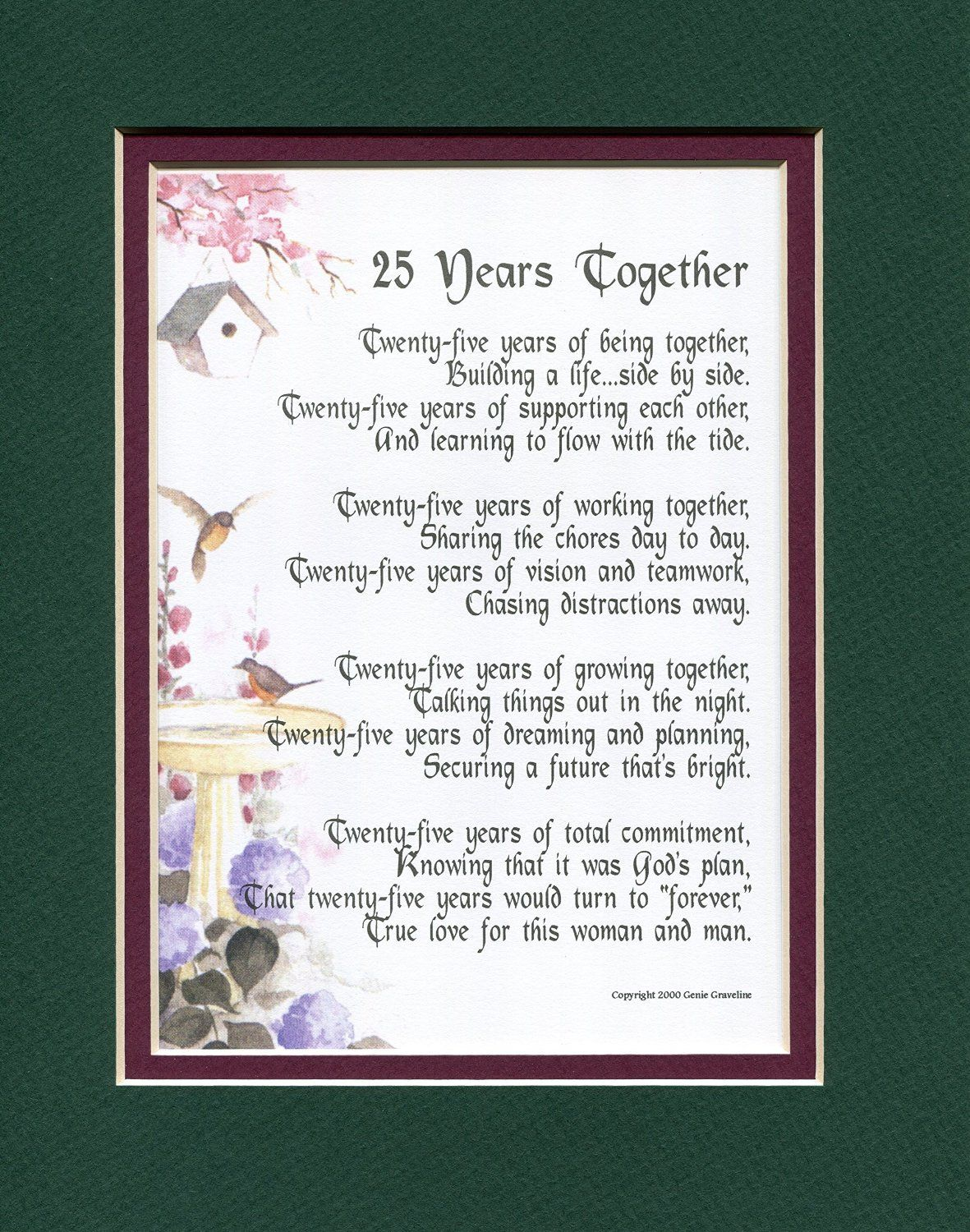 A gift present poem for a 25th wedding anniversary 117
