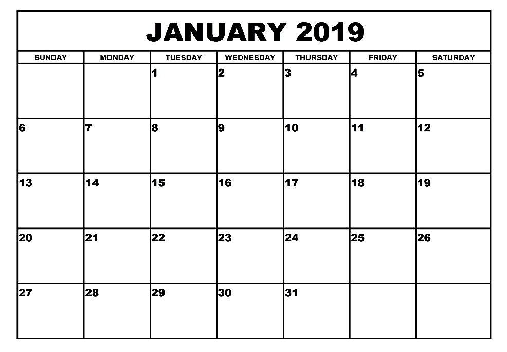 Calendar 2019 January Pdf January 2019 Calendar A4 Printable #january2019 #January