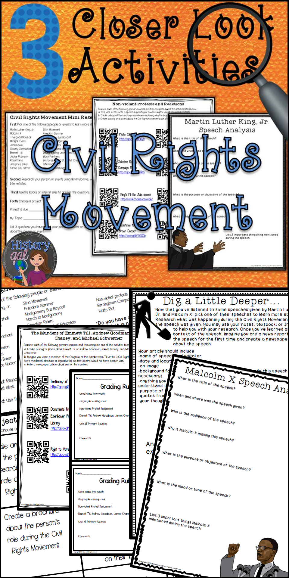 medium resolution of These 3 activities provide a closer or more in-depth look at the Civil  Rights Movement. Each activ…   History lessons