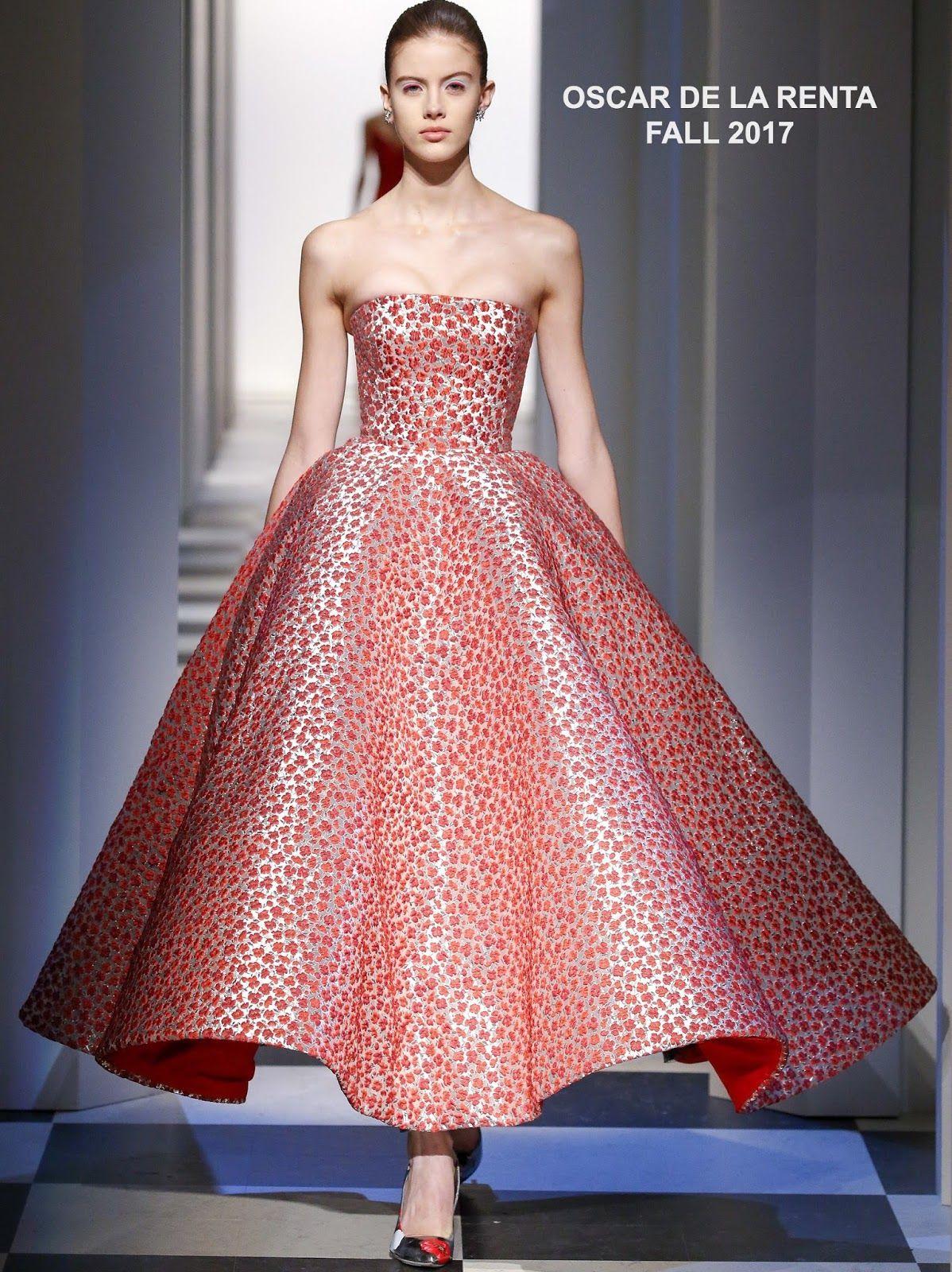 Oscar de la renta poppyjacquard strapless gown womenus fashion of