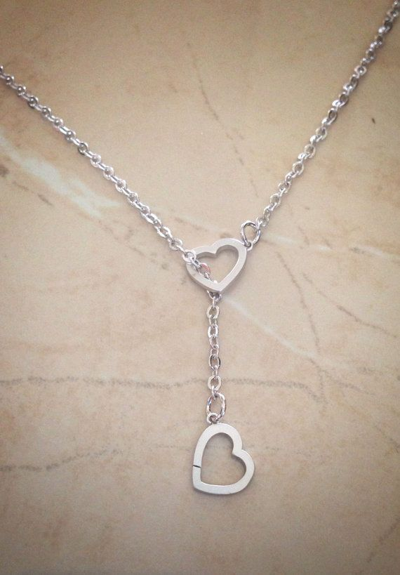 silver heart necklace bridesmaids necklace by LaylaReneeCouture, $19.00