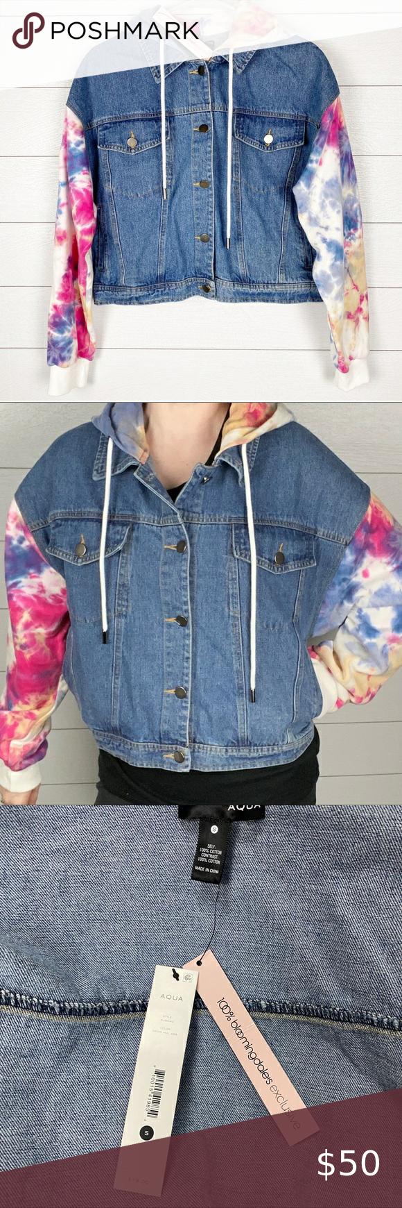 New Aqua Tie Dye Jean Sweatshirt Jacket New With Tags Nwt Aqua Bloomingdale S Exclusive Sweatshirt Jean Ja Tie Dye Jeans Jean Jacket Hoodie Hooded Denim Jacket [ 1740 x 580 Pixel ]