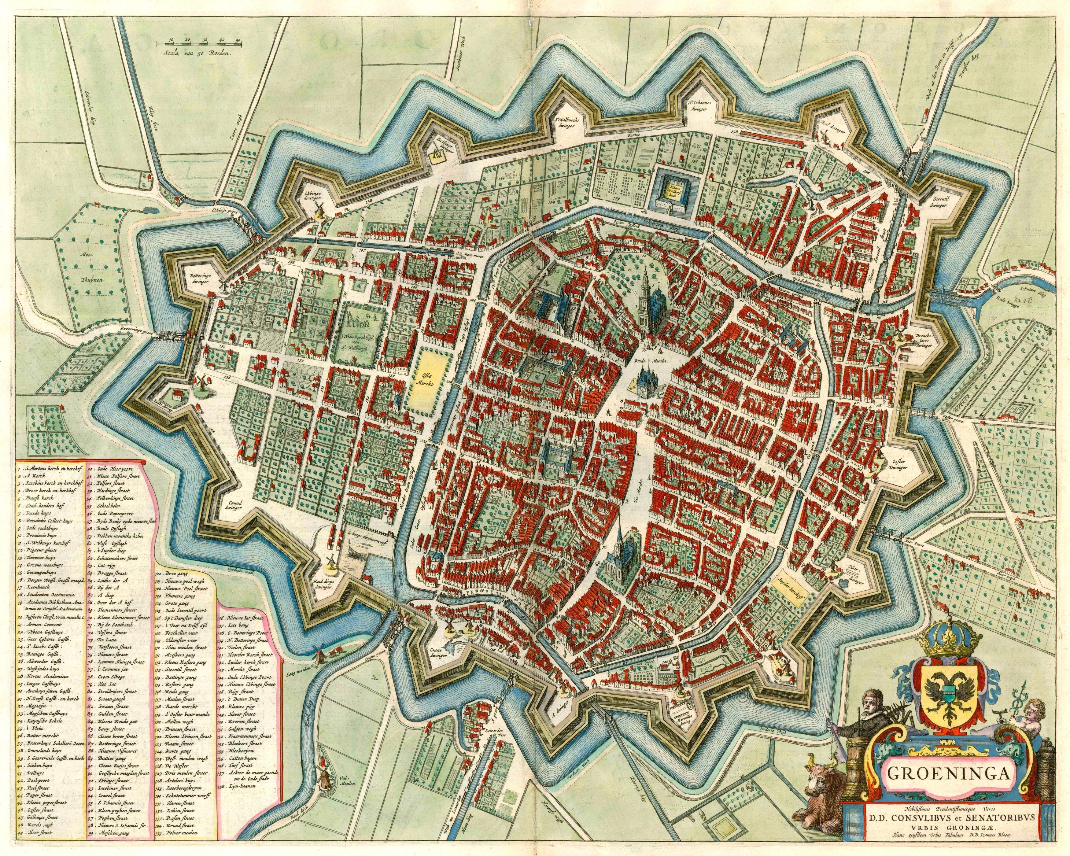 Antique map of Groningen by J. Blaeu. | Sanderus Antique ...