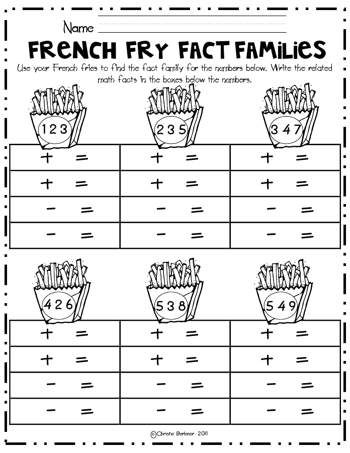 French Fry Fact Families math centerpdf math – Math Worksheets for Grade 2 Pdf