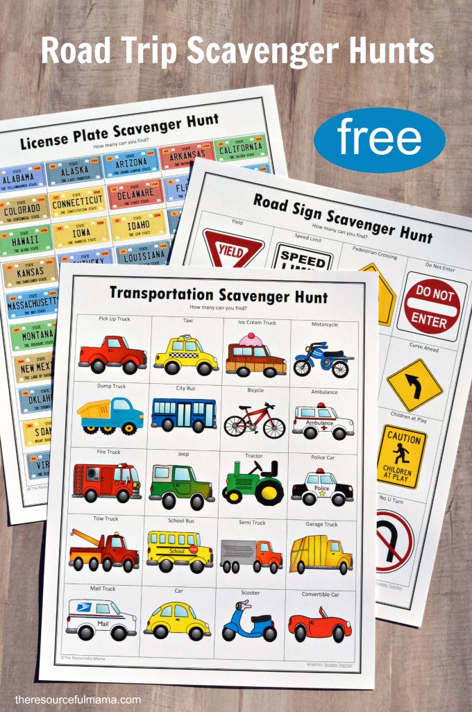 Free printable road trip scavenger hunts for kids includes