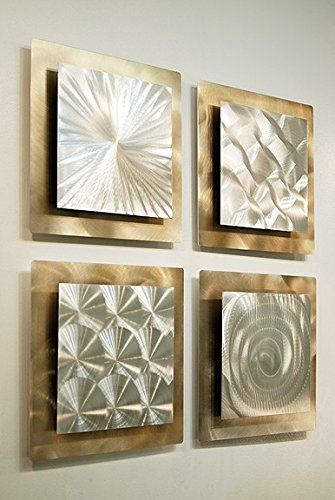 Gold Silver Abstract Metal Wall Art Set Of 4 Panel Modern Home Décor Phenomena Sculpture By Jon Allen Statements2000