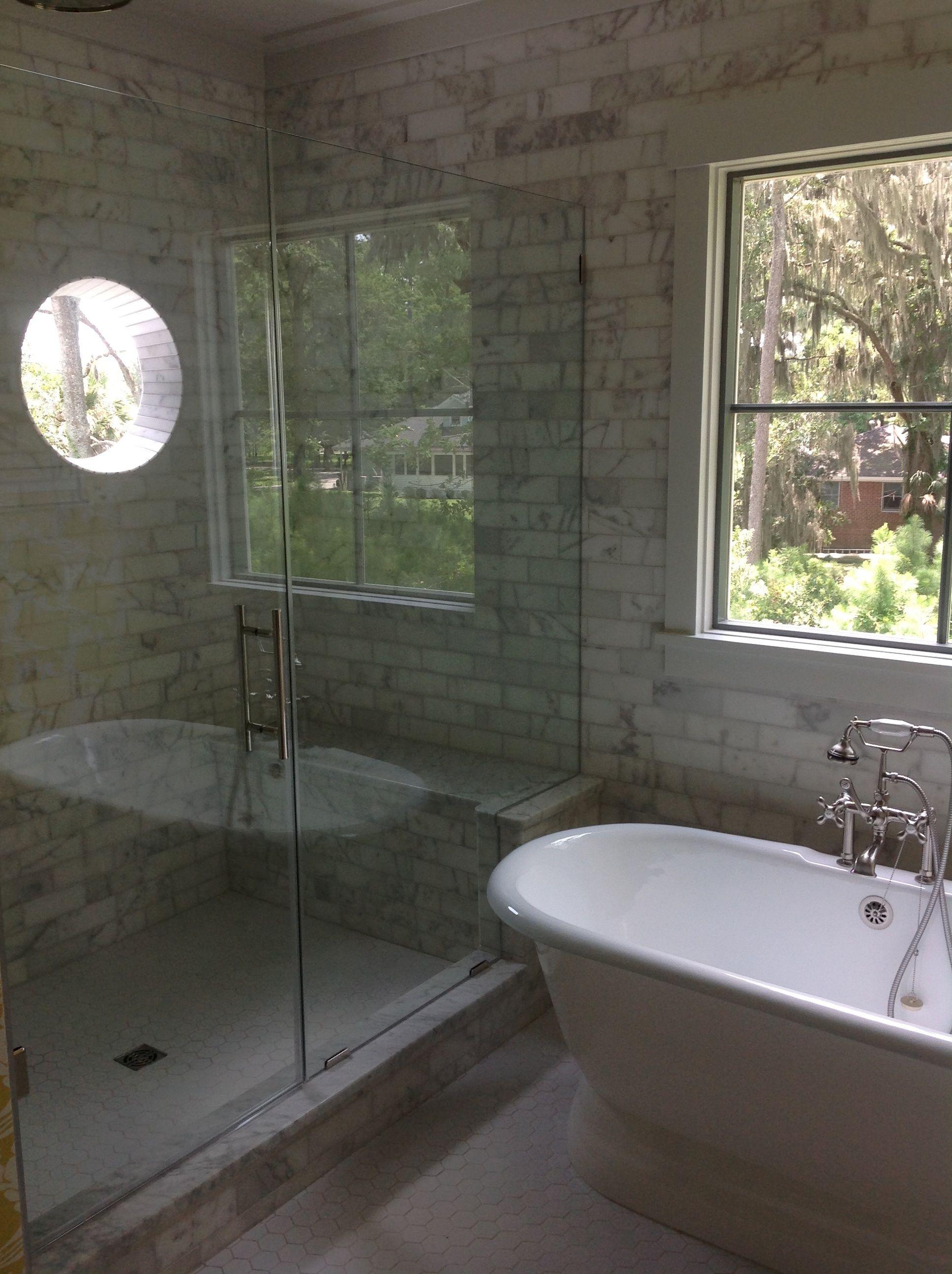 master bathroom small window in shower  window in