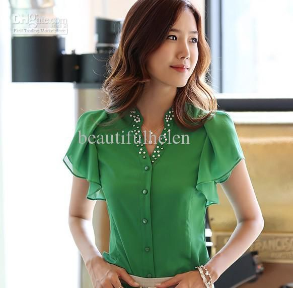 Fashion Blouses Ladies' Blouses chiffon Blouses Short-sleeve ...