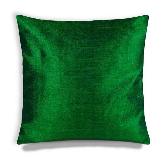 Emerald Green Silk Pillow CoverEmerald Green Silk Cushion Cover Cool Raw Silk Pillow Covers