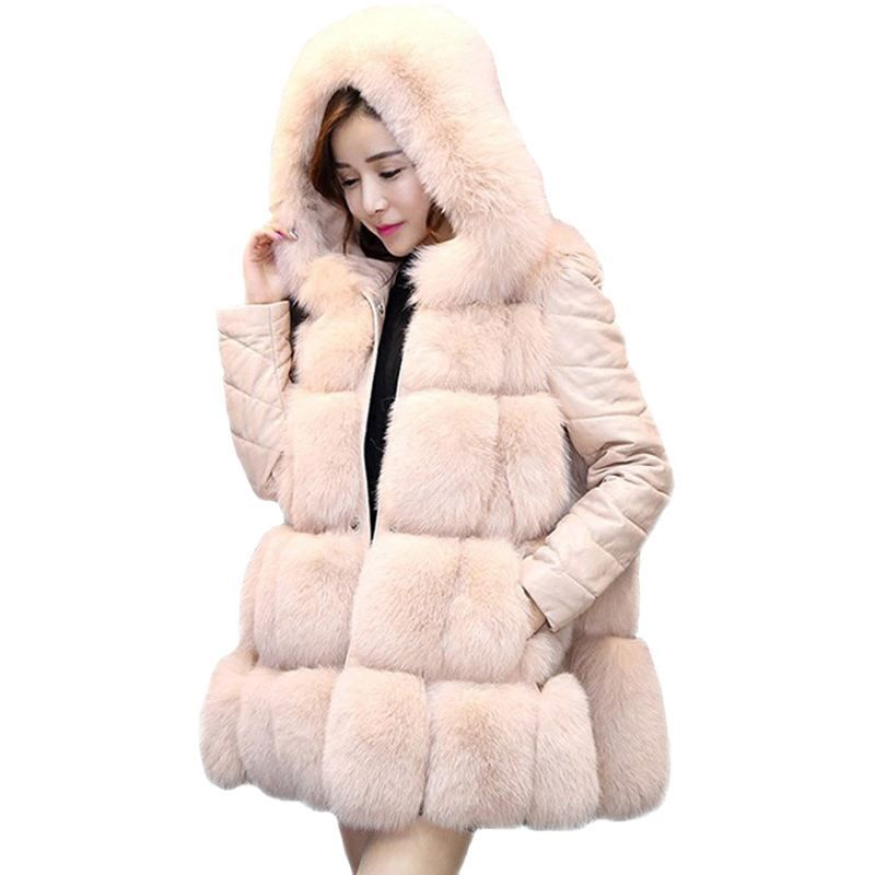1d3921a71a91b 2018 New Women Winter Fashion Faux Fur Outwear Coat Tops Female Hooded Warm  Thick Fake Fur Fox Jacket Overcoat Plus Size 3XL X81
