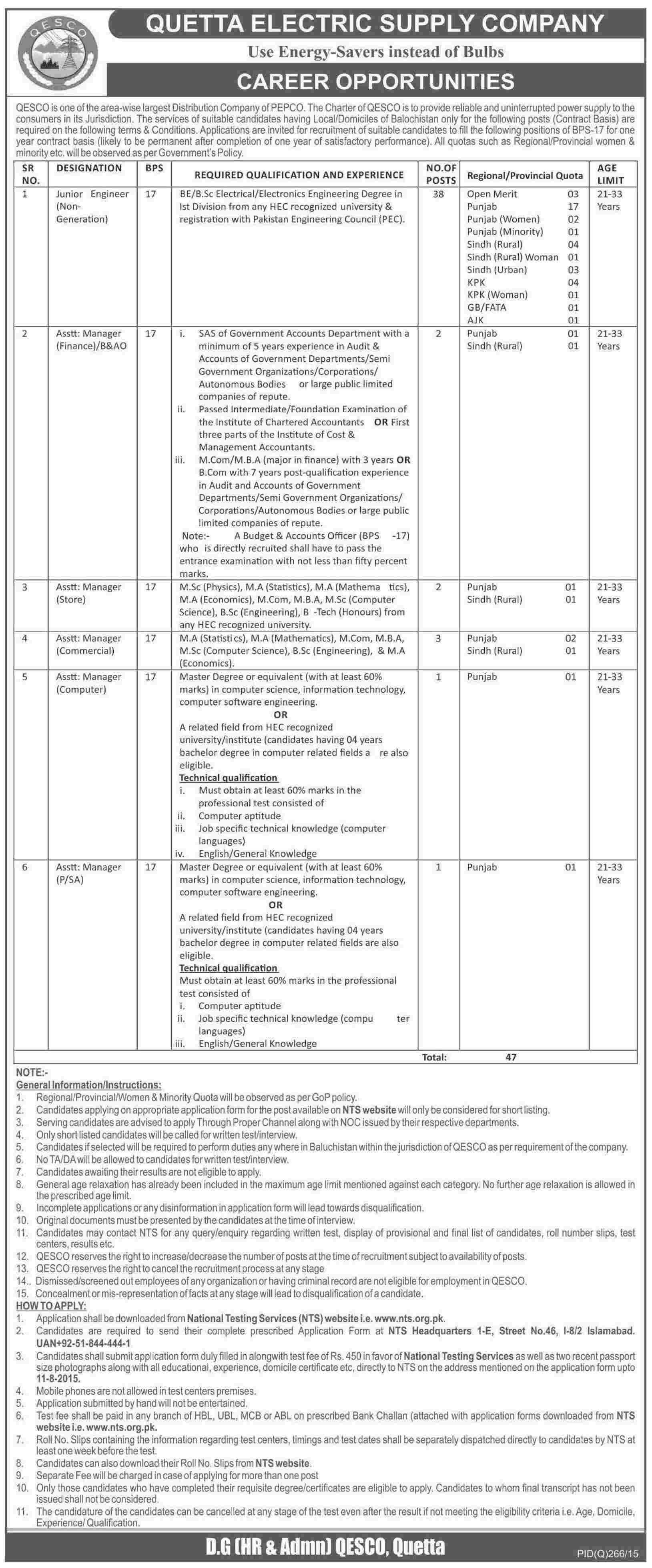 Quetta Electric Qesco Jobs 2015 July Engineer Asst Manager Nts