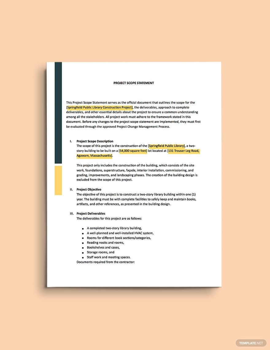 Construction Project Scope Statement Template Ad Ad Project Construction Scope Template Statement Statement Template Templates Word Doc Landscaping scope of work template