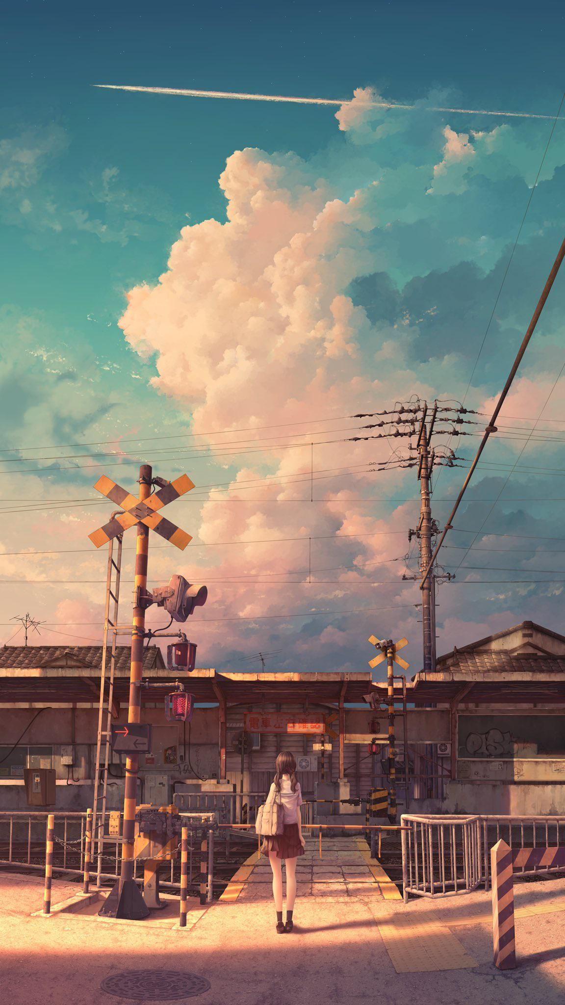 大きな雲と小さな踏切 winter_parasol Digital 2020. ART di 2020