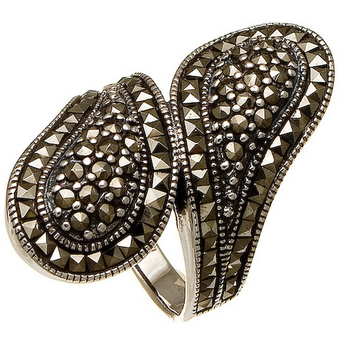 eBlueJay: SPOON STYLE MARCASITE CLUSTER sterling silver ring - size 6