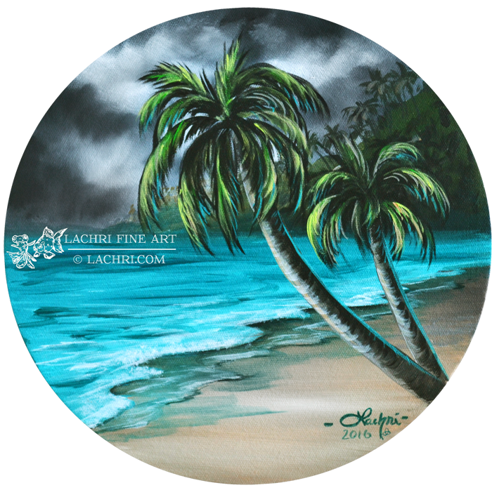 How To Paint A Beach And Palm Trees Palm Tree Drawing