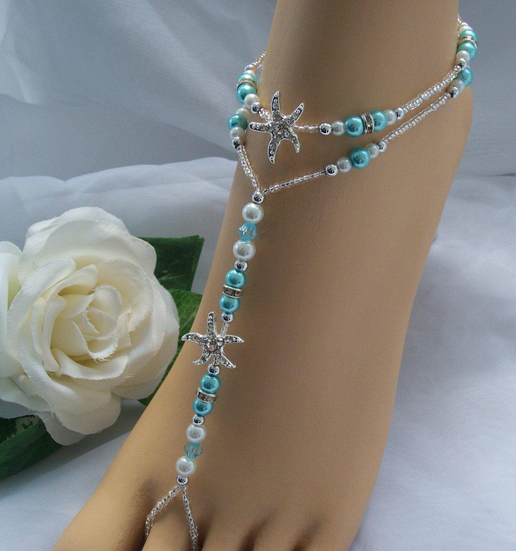 Turquoise Blue Starfish Foot Jewelry Wedding