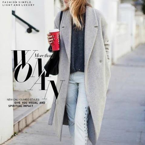 Women's Grey Wool Coats Winter Long Cashmere Imitation | Wool ...