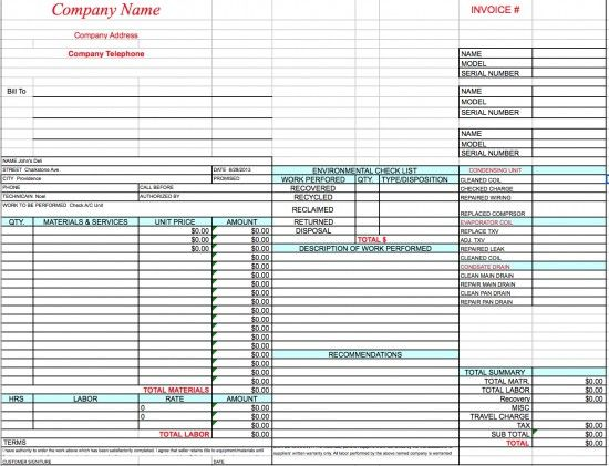 HVAC Invoice Template Excel HVAC Invoice Templates Pinterest - make an invoice in excel