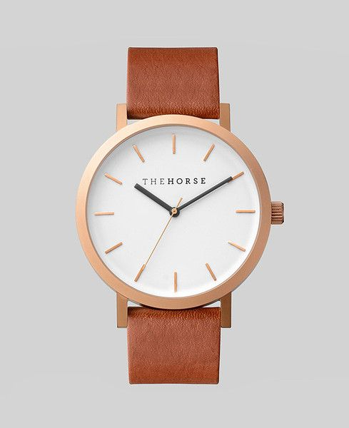 5a35895f8 Brushed rose gold and walnut leather - The Horse [ #design #watch #jewelry  #rosegold ]