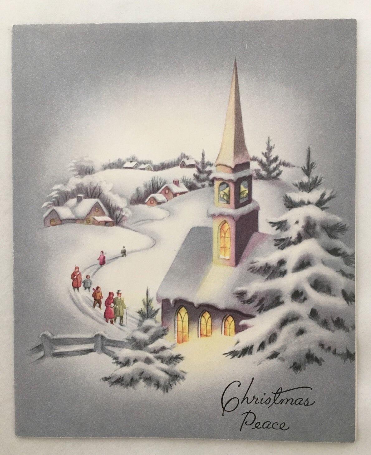 Charmant Vintage Christmas Card Snowy Neighborhood Church People Houses Trees Town  USA   EBay