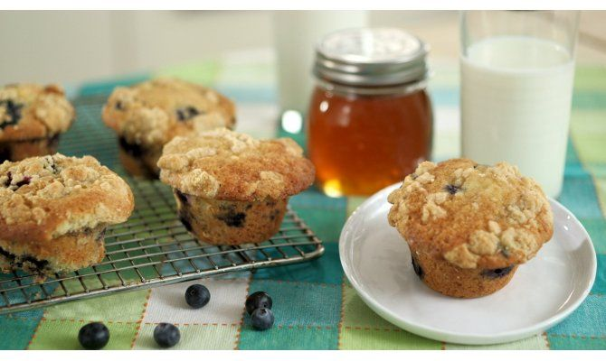 Blueberry Muffins with Salted Honey Crumble