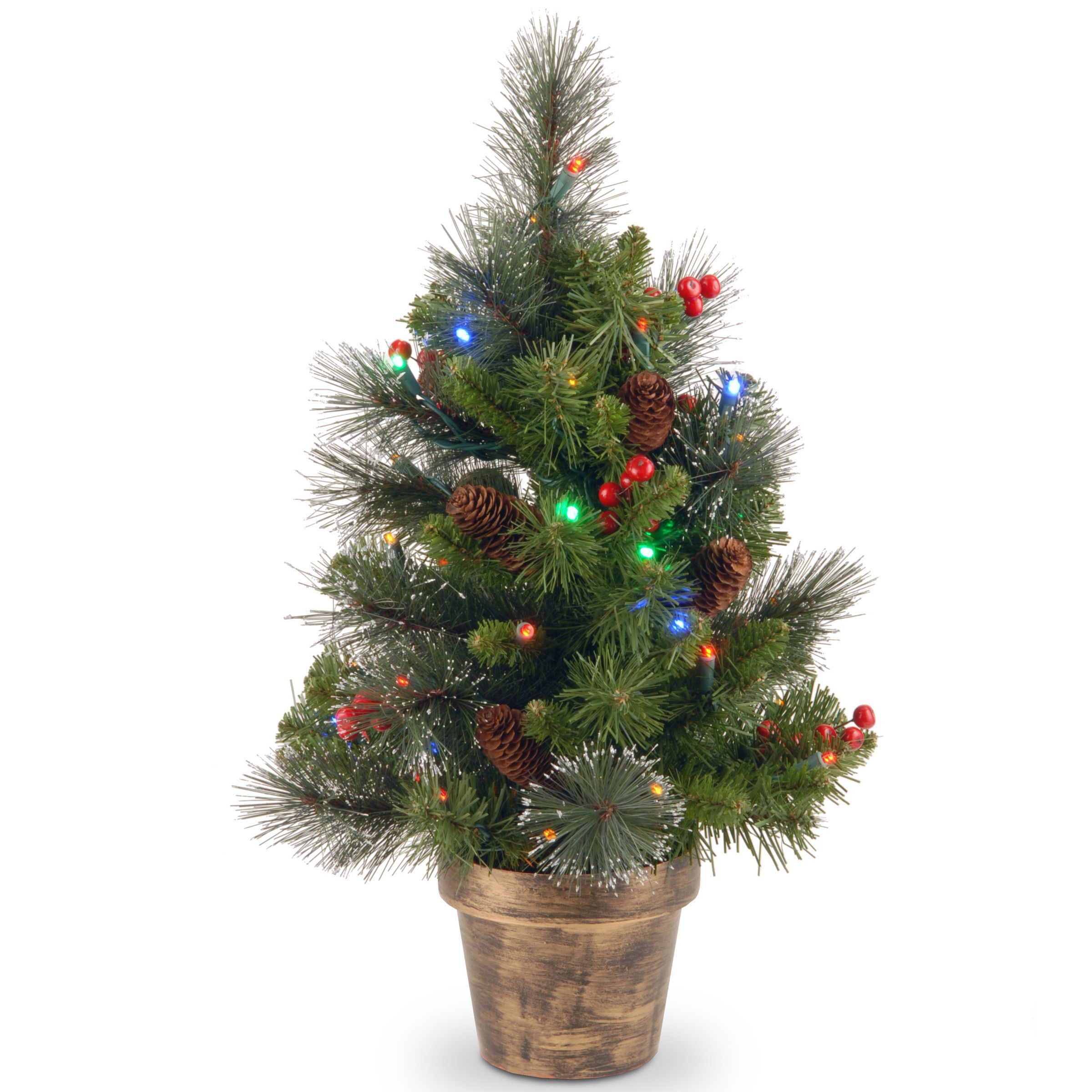 Crestwood small artificial christmas tree with plastic bronze pot -