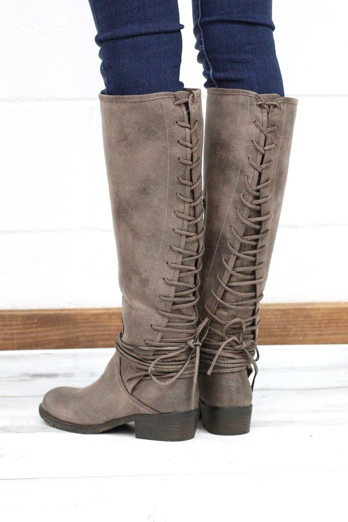 b895b51ffe These tall riding boots feature a gorgeous lace up back that also wraps  around the ankle. They have a solid back panel and the lace up can be  adjusted to ...