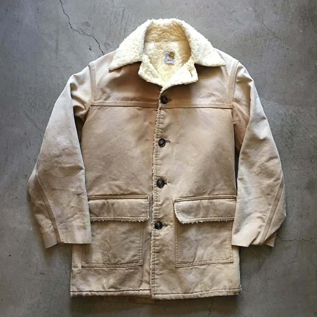 70s Carhartt Sherpa Canvas Coat, size M, measures 22