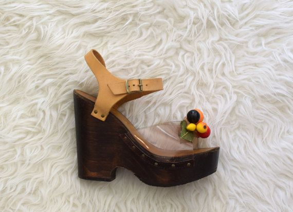 70s Platform Sandals w Fruit/ 1970s Wood and by AnastasiaSwift