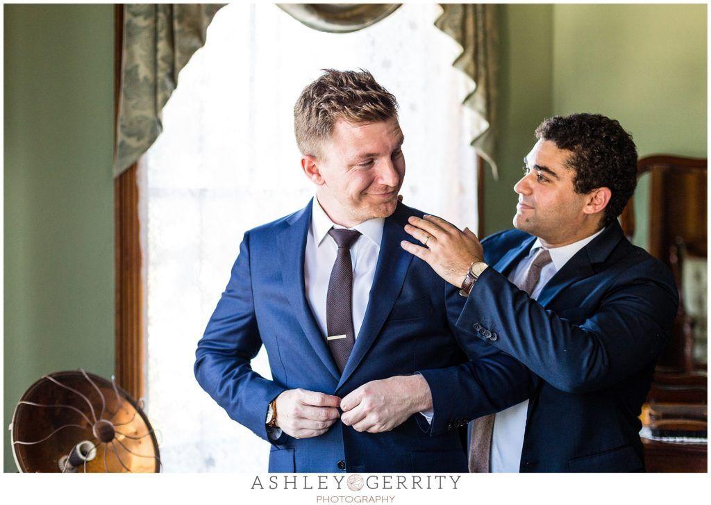 best man, groom, getting ready, navy suit, groom outfit ...