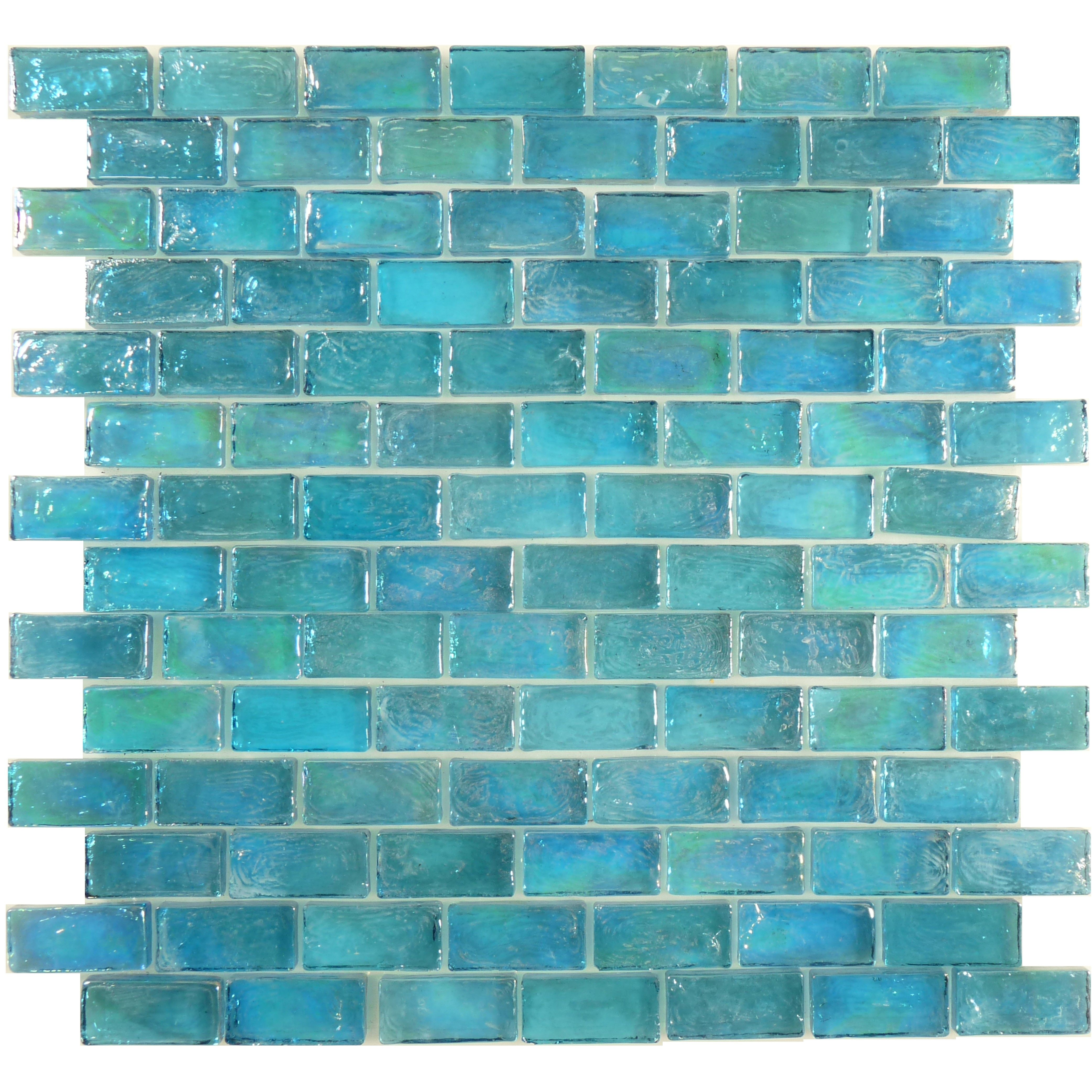 The Uniform Brick Tile Shape Of These Lovely Aqua Blue Glass Tiles May Be On The Straight And Narrow But Iridescent Glass Tiles Sea Glass Tile Blue Glass Tile