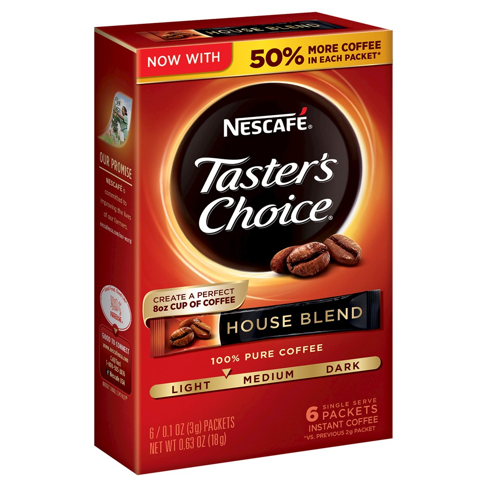 Nescafe Instant Coffee Sticks, House Blend 7 packets, 0