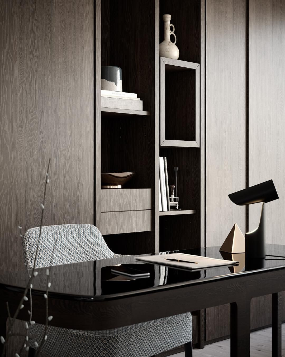A Touch Of Luxury The Satisfying Blend Of Warm Textures And Rich Colours Provides A Luxurio Home Office Cabinets Office Cabinet Design Office Furniture Modern