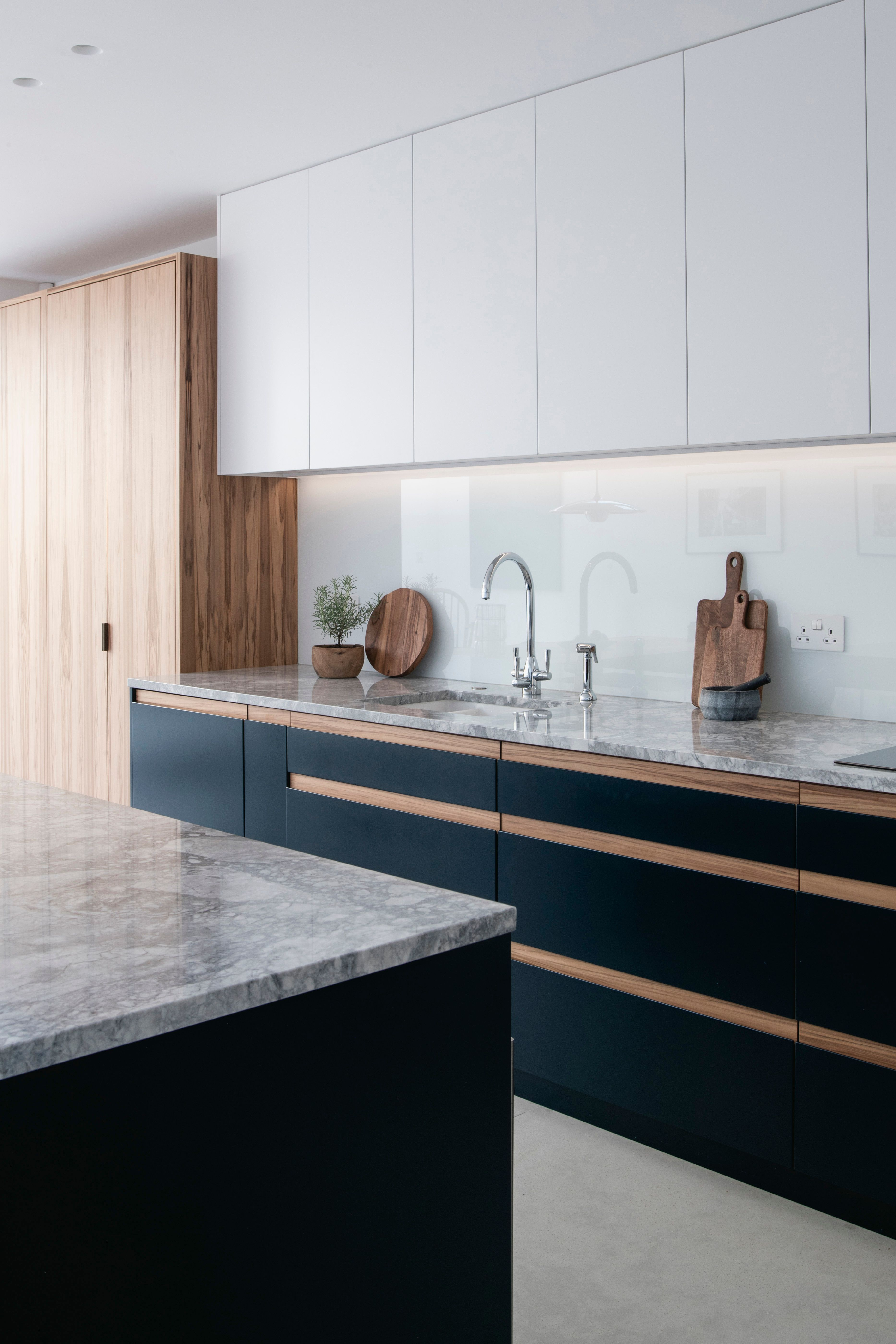 Deep Blue Bespoke Kitchen Cabinets With Satin Walnut Recessed Handles Brazilian Deep Bespoke Kitchen Cabinets Glass Kitchen Cabinets New Kitchen Cabinets