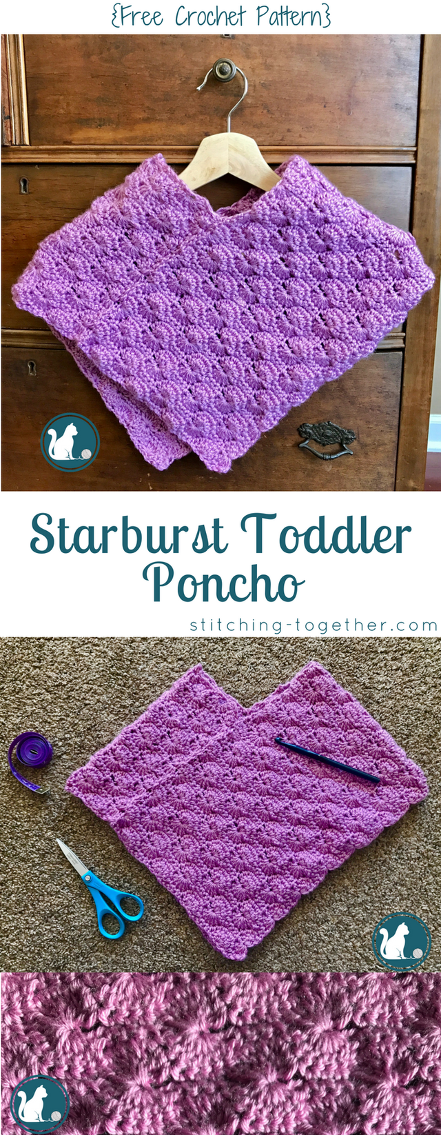 Starburst Toddler Poncho {Free Crochet Pattern | Ponchos, Puntadas ...