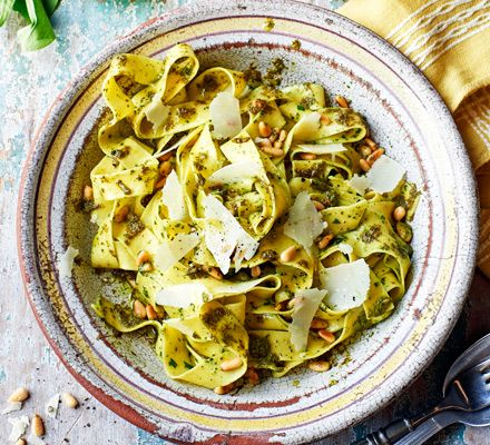 This seasonal sorrel and pappardelle pasta dish is simple and uses just a handful of ingredients. It's ready in 20 minutes and makes a fresh veggie main