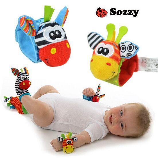 2pcs / set campanas de la cama del bebé confunden suave de la felpa del tipo Reloj Band / bebé campanas de mano / el niño Apacigua Juguetes / Newbron #F regalo