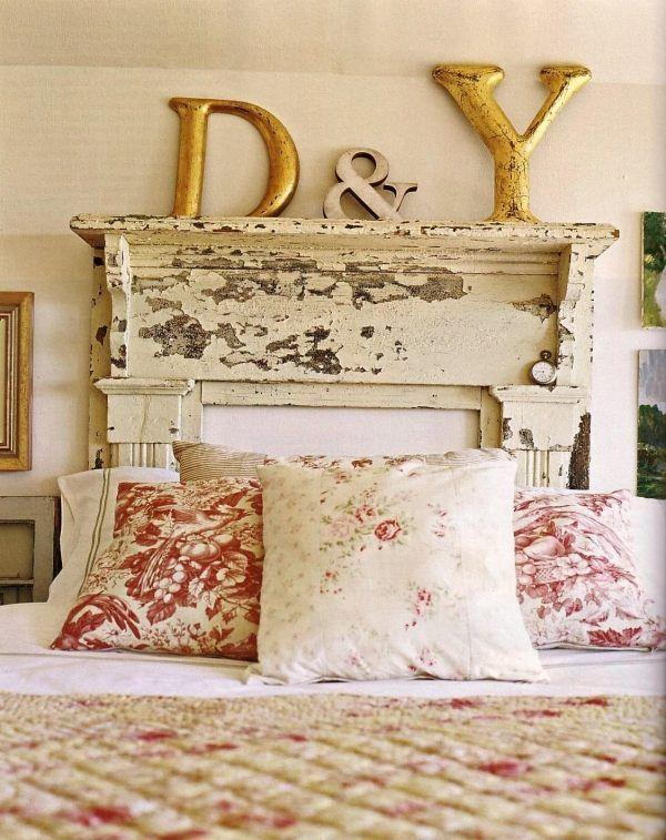 Kopfteil für das Bett - DIY Vintage Bettkopfteil mit - kopfteil fur das bett diy ideen