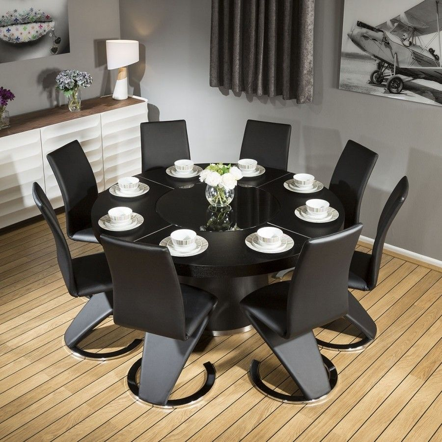 Modern Large Round Black Oak Dining Table 8 Black Z Shape Chairs