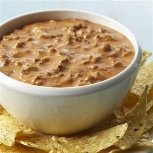 Need A Last Minute Superbowl Appetizer Look No Further With This Simple And Delicious Cheesy Ground Beef Nacho Dip Chili Cheese Dips Recipes Food