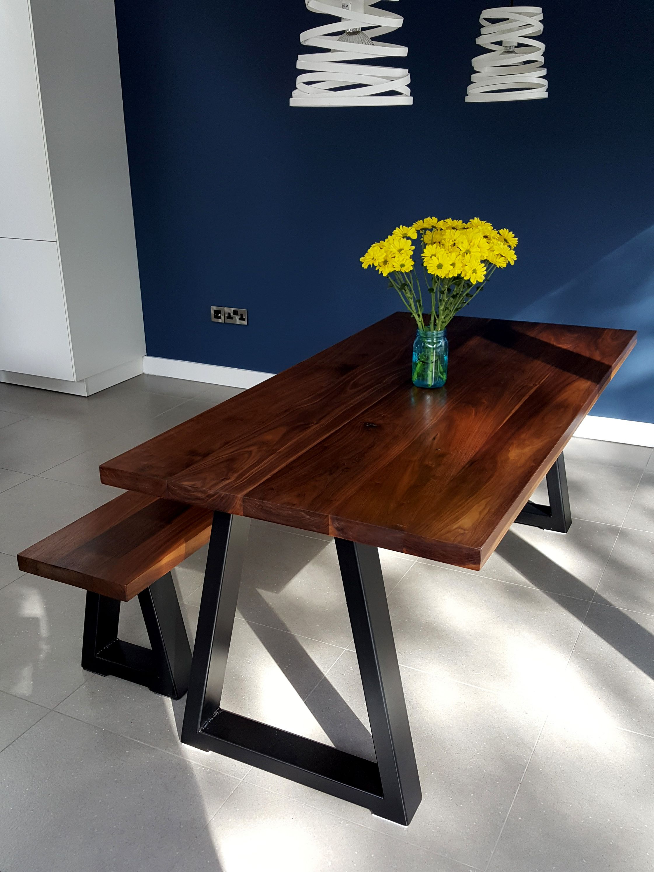 Walnut Dining Table And Bench Set With Chunky Trapezoid Base Handmade To Order For Clients In Clontarf Dublin
