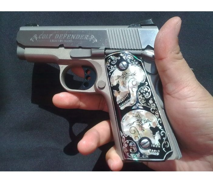MOTHER OF PEARL INLAY GRIPS FIT KIMBER & COLT COMPACT / OFFICER