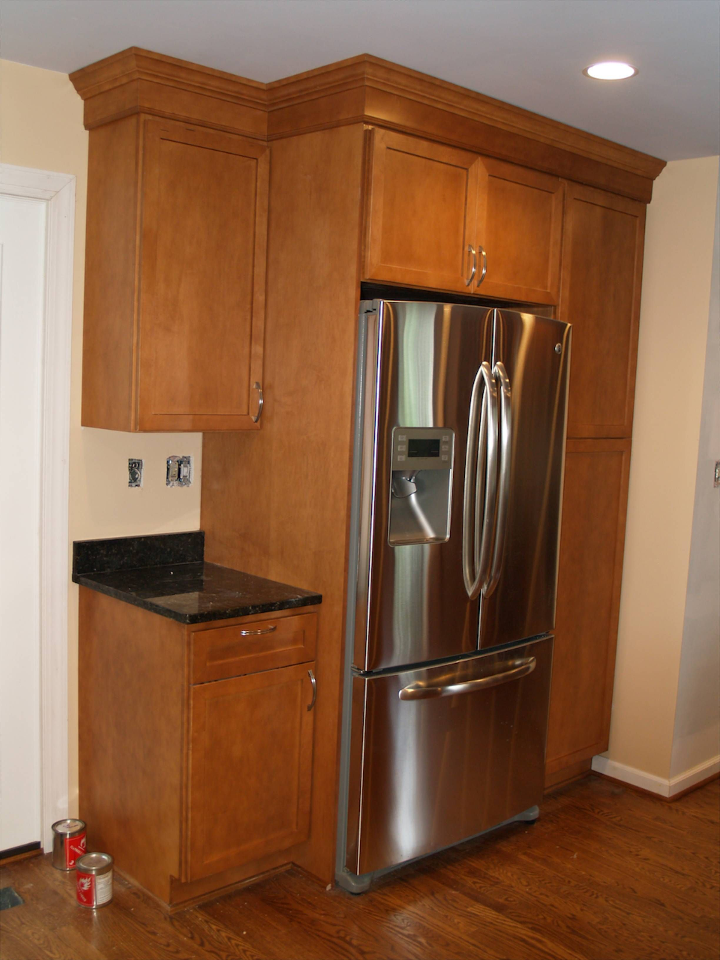 Refrigerator Area Cabinets Geeky Girl Engineer In 2020 New Kitchen Cabinets Kitchen Cabinet Design Refrigerator Cabinet