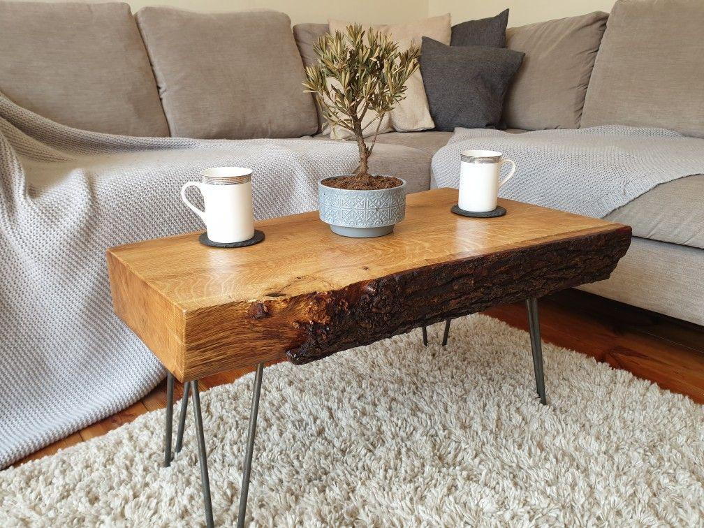 Peachy Reclaimed Bark On Live Edge Chunky Oak Coffee Table With Machost Co Dining Chair Design Ideas Machostcouk