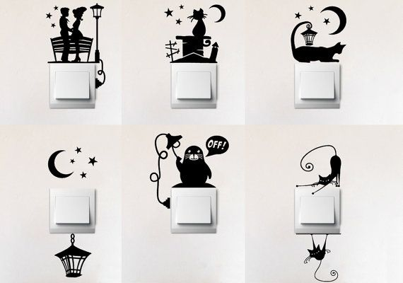 Set Of Six Different Light Switch Vinyl Decal Decorations In 2019 - Vinyl-decals-to-decorate-light-switches-and-outlets