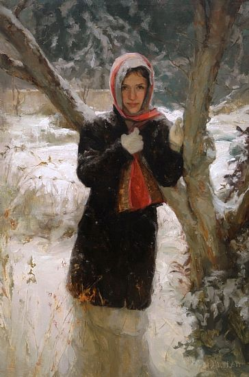 "Third Place - Signature Member   Award Sponsor: Oil Painters of America    Noelle  by Johanna Harmon   Oil 36"" x 24"""