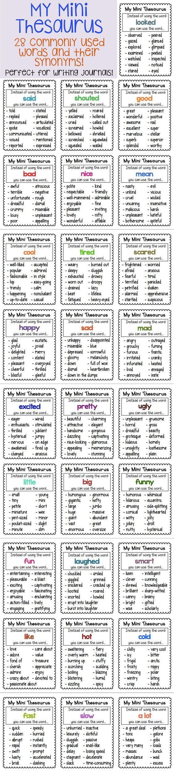 Thesaurus Charts - synonyms for common words | Chart, Journal and Minis